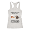 A Woman Can Not Survive On Coffee Alone She Also Needs A Dachshund Love Dogs Shirts-T-shirt-Next Level Racerback Tank-Heather Grey-XS-Geek Mundo Store