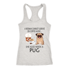 A Woman Can Not Survive On Coffee Alone She Also Needs A Pug Love Dogs Shirts-T-shirt-Next Level Racerback Tank-Heather Grey-XS-Geek Mundo Store