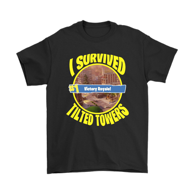 Fortnite – I Survived #1 Victory Royale Tilted Towers Shirts-T-shirt-Gildan Mens T-Shirt-Black-S-Itees Global
