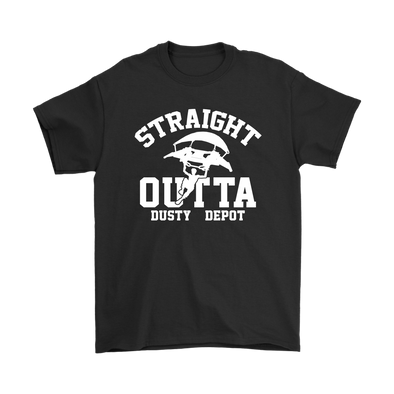 Fortnite – Straight Outta Dusty Depot Shirts-T-shirt-Gildan Mens T-Shirt-Black-S-Itees Global