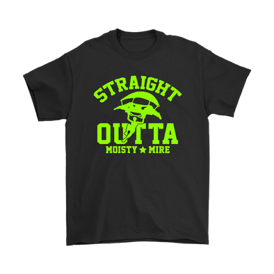 Fortnite – Straight Outta Moisty Mire Shirts-T-shirt-Gildan Mens T-Shirt-Black-S-Geek Mundo Store