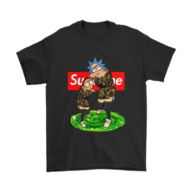 Official Supreme Rick and Morty Shirts-T-shirt-Gildan Mens T-Shirt-Black-S-Itees Global