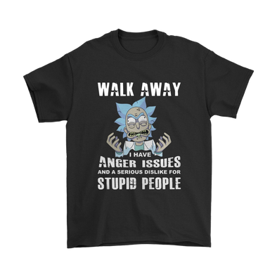 Rick and Morty Walk Away I Have Anger Issues Shirts-T-shirt-Gildan Mens T-Shirt-Black-S-Itees Global
