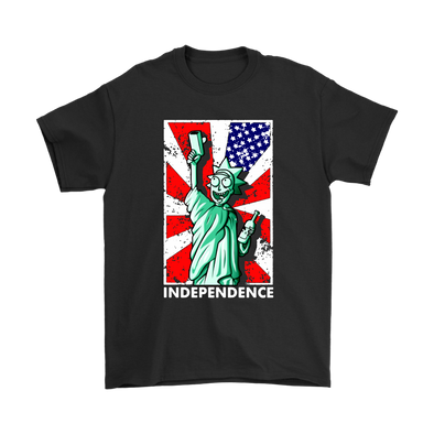Rick Liberty Enlightening The World The Independence Day Shirts-T-shirt-Gildan Mens T-Shirt-Black-S-Itees Global