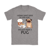 A Woman Can Not Survive On Coffee Alone She Also Needs A Pug Love Dogs Shirts-T-shirt-Gildan Womens T-Shirt-Sport Grey-S-Geek Mundo Store