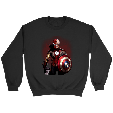 Stan Lee Marvel Comic Spider Man Captain America Thor Sweatshirt-T-shirt-Crewneck Sweatshirt-Black-S-Itees Global