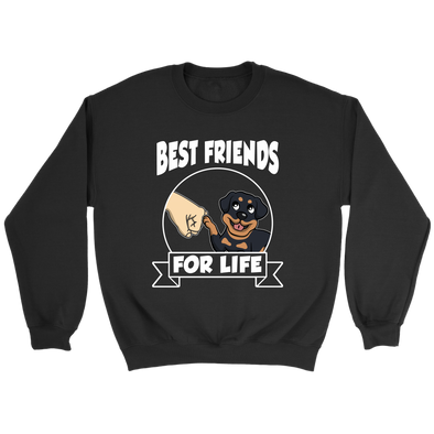 Rottweiler Best Friends For Life Dog Shirts-T-shirt-Crewneck Sweatshirt-Black-S-Geek Mundo Store