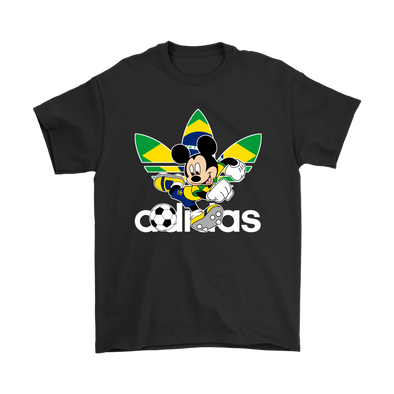 World Cup 2018 Brazil Mickey Mouse Adidas Shirts-T-shirt-Gildan Mens T-Shirt-Black-S-Itees Global