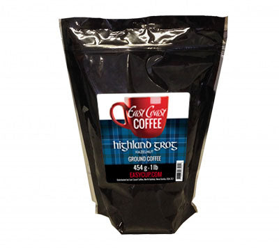 Highland Grog, Hazelnut Flavour, Ground Coffee, 1 lb Bag