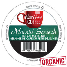 Load image into Gallery viewer, Mornin' Screech, Light Roast Coffee, Organic, Fair Trade, Recyclable, 96 K-Cups