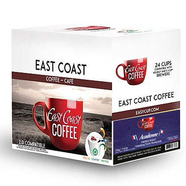 Acadienne, French Roast Coffee, Recyclable, 24 K-Cups
