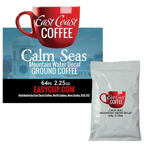 Calm Seas, Decaf Dark Roast, Ground Coffee, Fraction Packs 64 x 2.25 oz