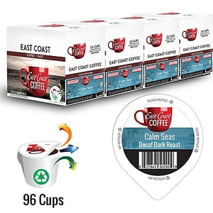 Calm Seas, Organic, Fair trade, Decaf Dark Roast Coffee, Recyclable, 96 K-Cups