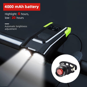 4000mAh Induction Bicycle Front Light Set USB Rechargeable Smart Headlight With Horn