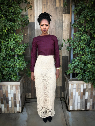 Tan lace skirt