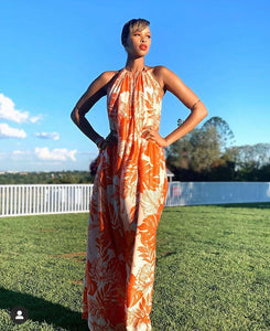 Halterneck Orange Print Maxi