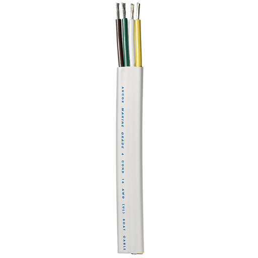 Ancor Trailer Cable - 16/4 AWG - Yellow/White/Green/Brown - Flat - 100' [154010]