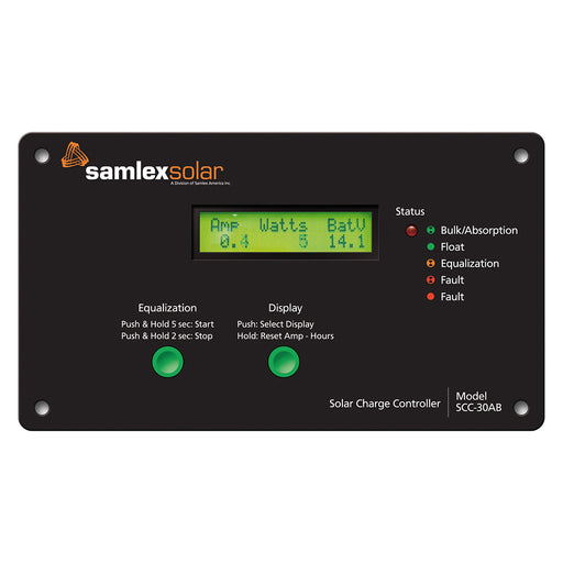 Samlex Flush Mount Solar Charge Controller w/LCD Display - 30A [SCC-30AB]
