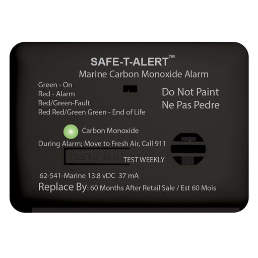 Safe-T-Alert 62 Series Carbon Monoxide Alarm w-Relay - 12V - 62-541-R-Marine - Surface Mount - Black [62-541-R-MARINE-BL]