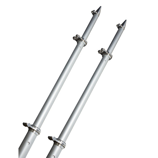 TACO 18 Deluxe Outrigger Poles w/Rollers - Silver/Silver [OT-0318HD-VEL]