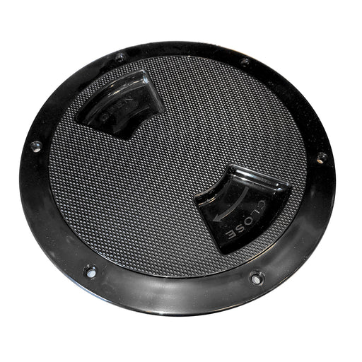 "Sea-Dog Quarter-Turn Textured Deck Plate w-Internal Collar - Black - 6"" [336367-1]"