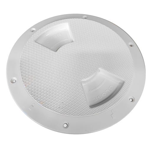 "Sea-Dog Quarter-Turn Textured Deck Plate w-Internal Collar - White - 8"" [336382-1]"