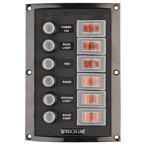 Sea-Dog Splash Guard Circuit Breaker Panel - 6 Circuit [424806-1]