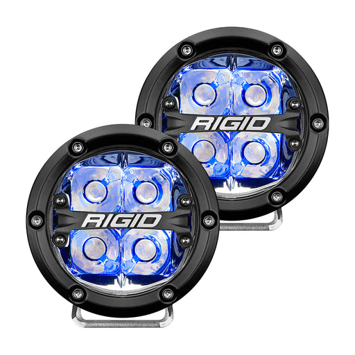 "RIGID Industries 360-Series 4"" LED Off-Road Spot Beam w/Blue Backlight - Black Housing [36115]"