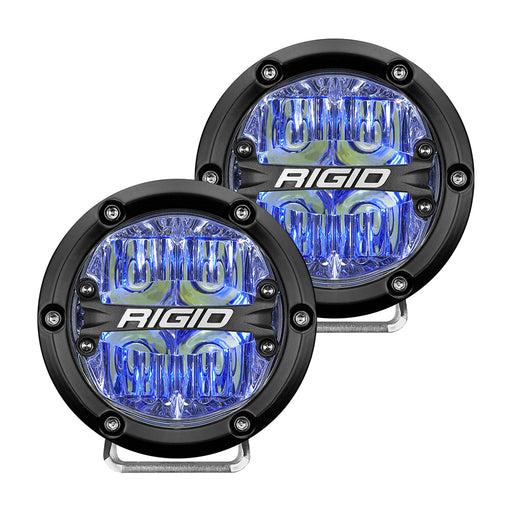 "RIGID Industries 360-Series 4"" LED Off-Road Fog Light Drive Beam w-Blue Backlight - Black Housing [36119]"