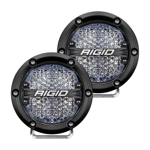 "RIGID Industries 360-Series 4"" LED Off-Road Fog Light Diffused Beam w-White Backlight - Black Housing [36208]"