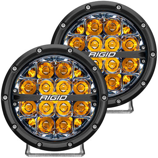 "RIGID Industries 360-Series 6"" LED Off-Road Fog Light Spot Beam w-Amber Backlight - Black Housing [36201]"