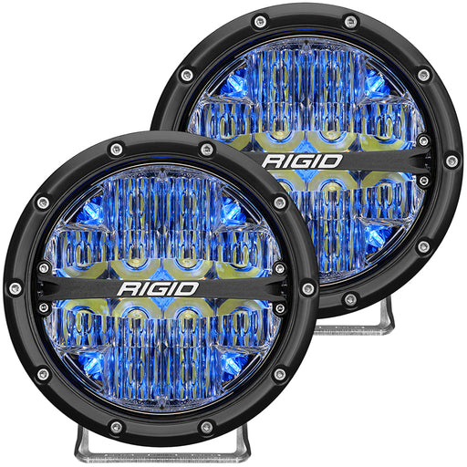 "RIGID Industries 360-Series 6"" LED Off-Road Fog Light Spot Beam w-Blue Backlight - Black Housing [36202]"