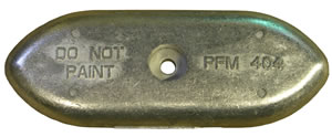 "Performance Metals Hull Plate Aluminum Anode 9-1/4"" X 3-3/8"""