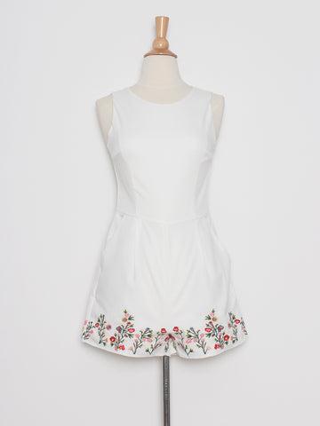 Aura Embroidered Playsuit in White