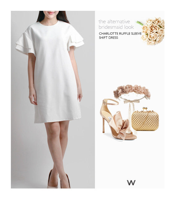 Charlotte Ruffle Sleeve Shift Dress White