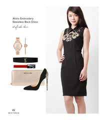 Alisha Embroidery Sleeveless Black Dress