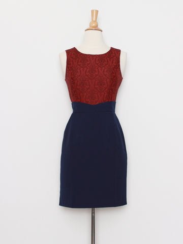 Darcey Executive Dress in Red & Blue