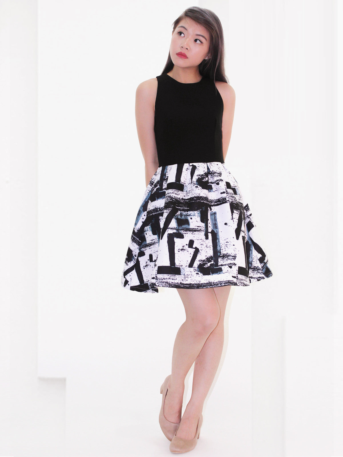Kaycee Monochrome Printed Dress Black
