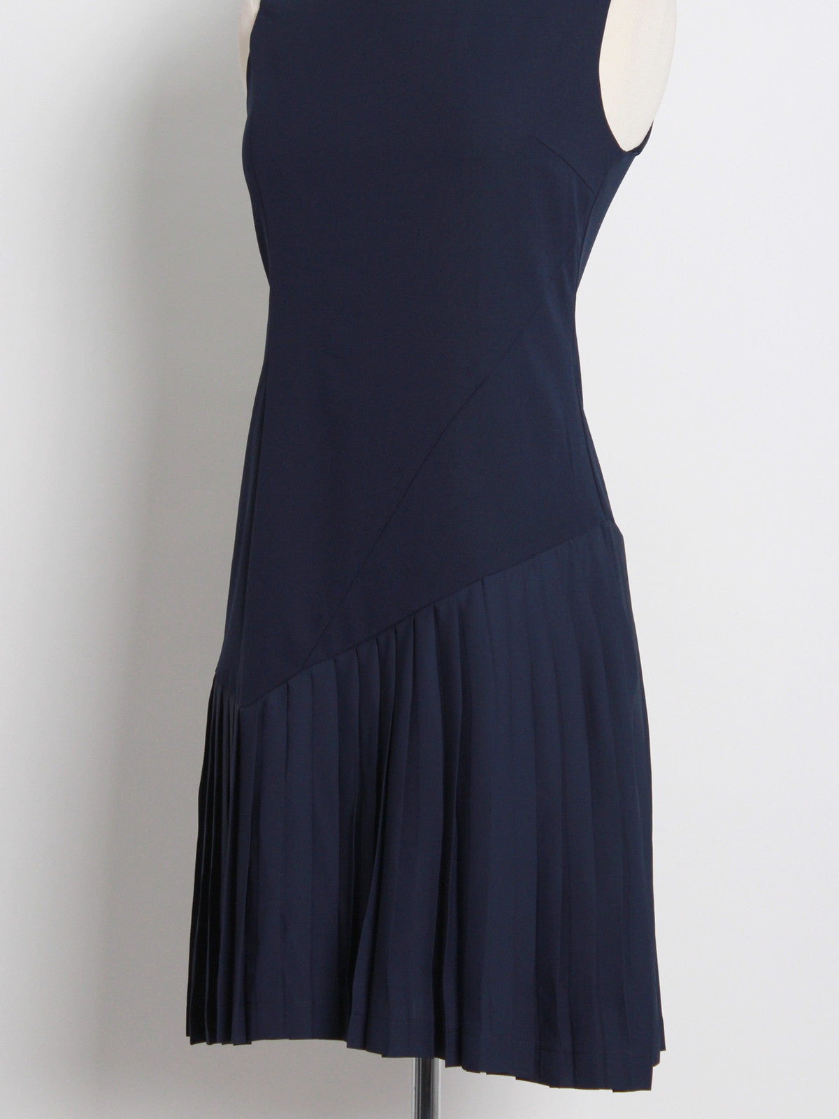 Andrianna Drop Waist Pleated Dress Navy