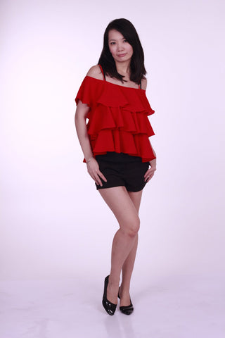 Bexley Tiered Cold Shoulder Top Red