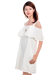 Stephanie Cold Shoulder Dress White