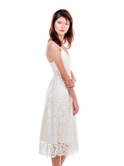 Bernice Crochet Lace Dress in White