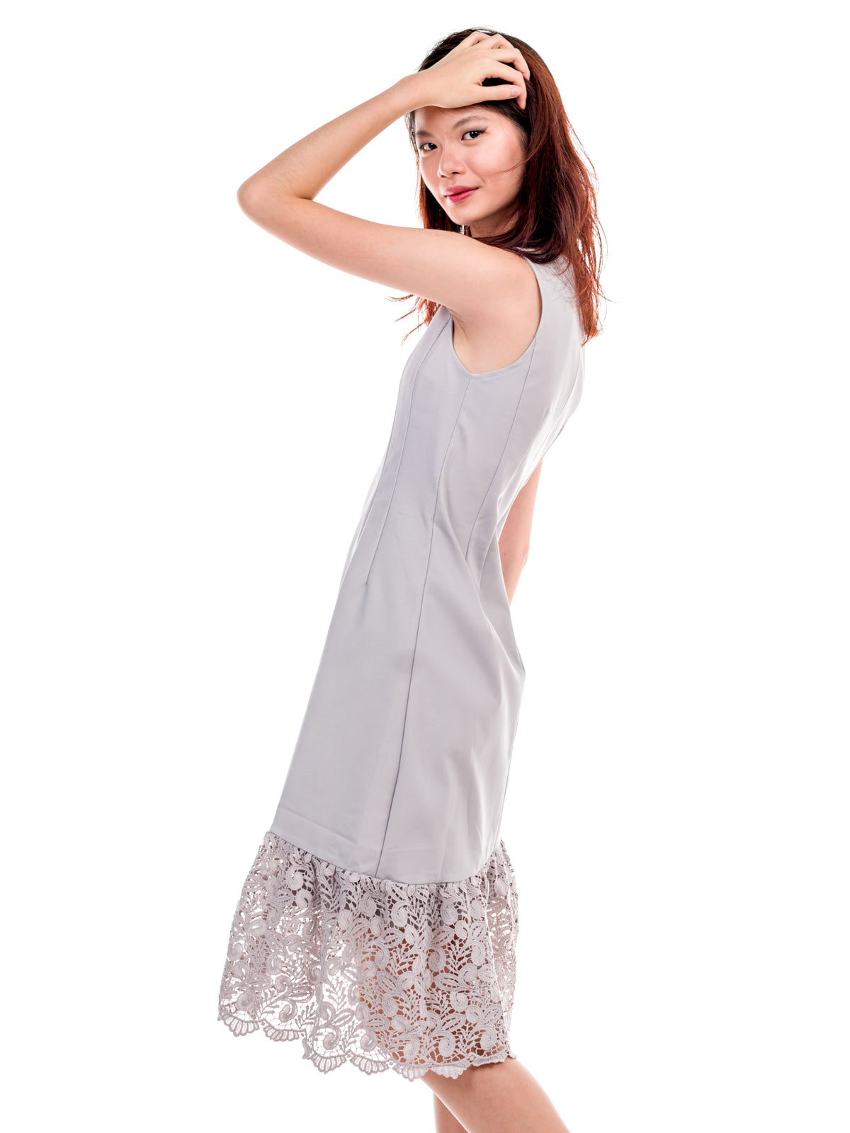 Matilda Asymmetrical Lace Hem Dress Grey
