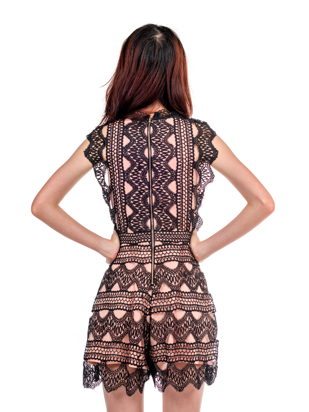 Estelle Crochet Lace Romper Black