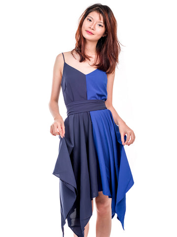 Calla Dual Tone Handkerchief Dress