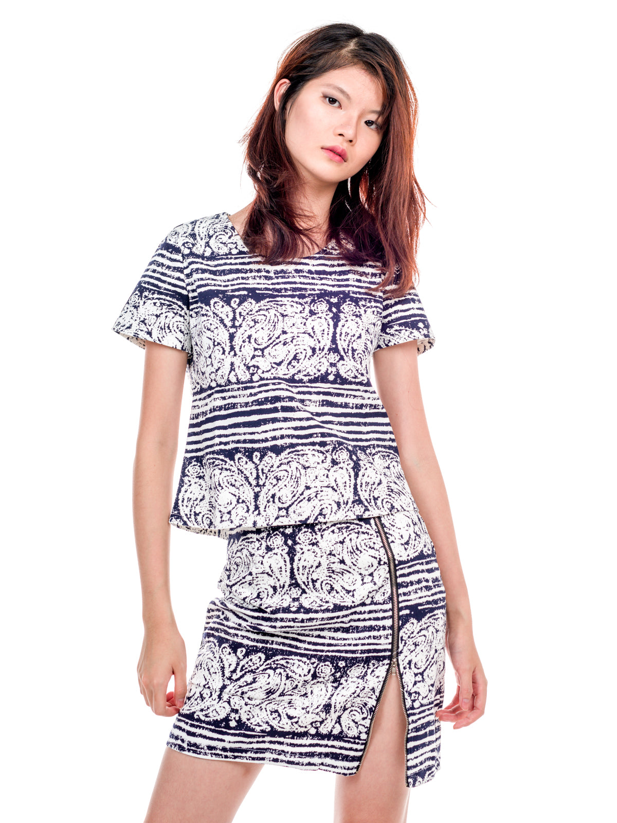 Aada Two Piece Prints Set Black and White