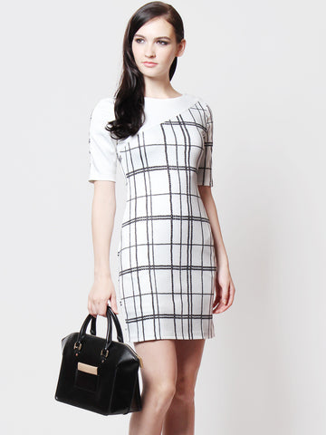 Dianna Printed Sleeved Dress White