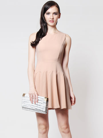 Paulina Pleated Skater Dress Peach