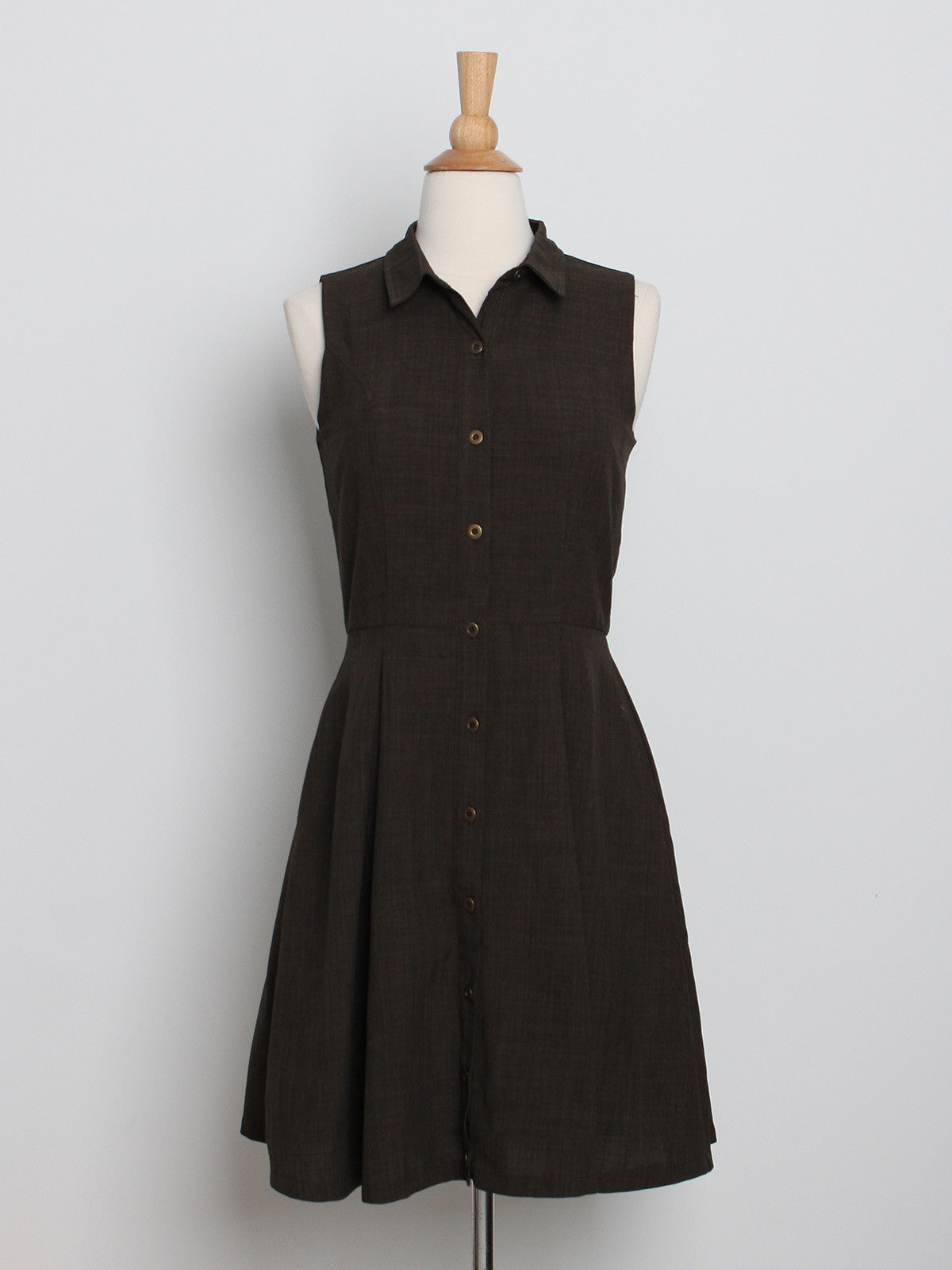 Jemma Button Down Shirt Dress Olive
