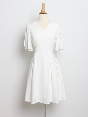 Darcey Sleeved Dress White